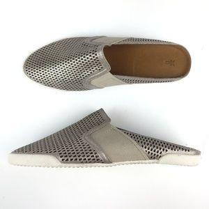 Frye Melanie Gore Perf Slip On Mules Silver Shoes